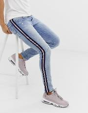 Andov Ripped Power Stretch Skinny Jeans With Side Stripe Light Wash