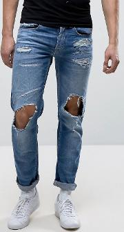 grover straight fit jeans light wash abrasions