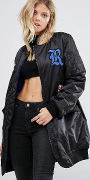 longline bomber jacket with patch detail