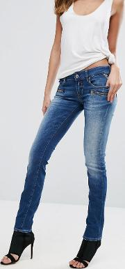 mid rise biker jeans with zip pockets