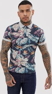 Washed Dark Flower Print Polo With Contrast Collar
