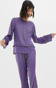 Resume Jolie Striped Blouse With Frill Detail