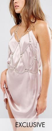 cropped cut out chain harness