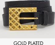 Retro Luxe 18k Gold Plated Quilted Effect Buckle Leather Belt