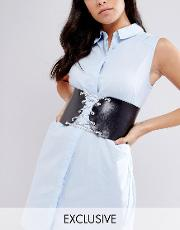 retro luxe chain lace up leather corset belt