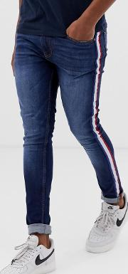 Skinny Jeans With Striped Taping