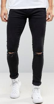 Super Skinny Black Jeans With Knee Rips