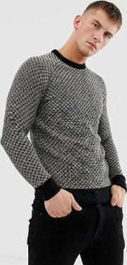 Waffle Textured Knitted Jumper
