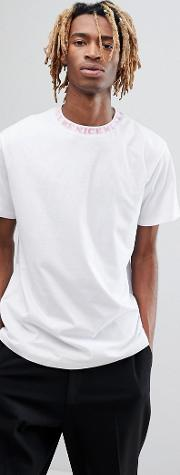 ripndip t shirt with neck taping  white