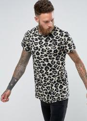 of 66 oversized t shirt in leopard print