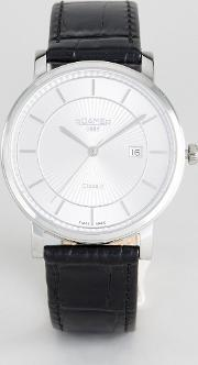 Watch With Silver Dial Black Leather Strap