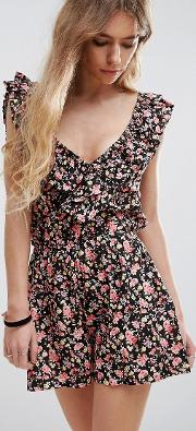 Printed Frilled Playsuit
