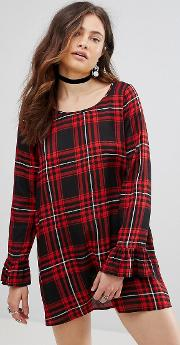 Spencer Check Dress With Frill Sleeve