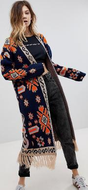 bohemian tapestry cardigan with tassle detail