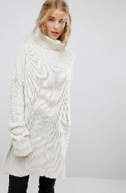 oversized cable knit jumper with balloon sleeves