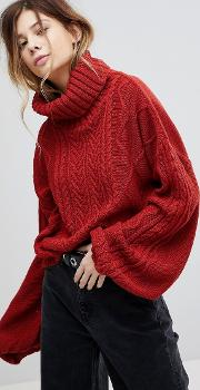 oversized cable knit roll neck jumper with balloon sleeves