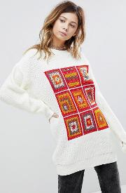 Oversized Jumper With Crochet Panels
