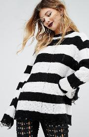 Oversized Jumper With Distressing  Stripe