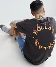 flame logo t shirt with back print