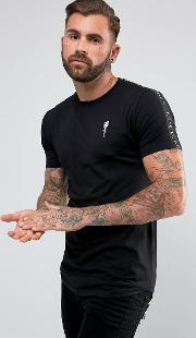 T Shirt In Black With Taping