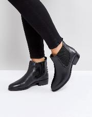 Leather Flat Chelsea Boot