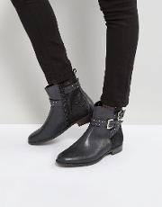 stud strap flat leather boot