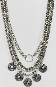 Mix Chain & Coin Multirow Necklace