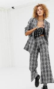 relaxed crop trousers in check