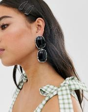 Silver & Stone Statement Earrings