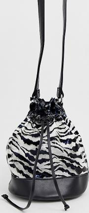 Tiger Print Clear Bucket Bag