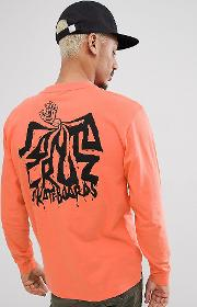 spill long sleeve t shirt in orange exclusive to asos