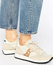 Exclusive Jazz Original Vintage Trainers  Cream & Rose Gold