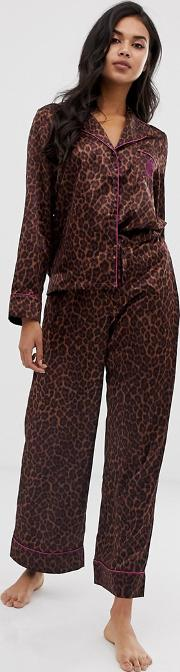 Animal Print Satin Pyjama Bottoms Toffee Leopard
