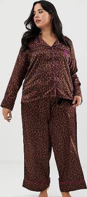 Curvy Animal Print Satin Pyjama Bottoms Toffee Leopard
