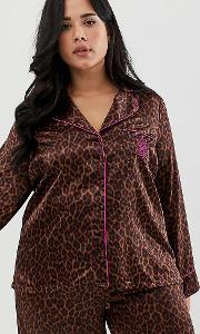 Curvy Animal Print Satin Pyjama Top Toffee Leopard