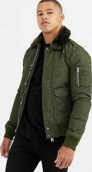 Air Insulated Bomber Jacket Slim Fit With Detachable Faux Fur Collar Khaki