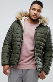 rocky 2 hooded puffer bomber with detachable faux fur trim in green