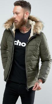 Rocky 2 Puffer Bomber Hooded Detachable Faux Fur Trim Slim Fit In Green