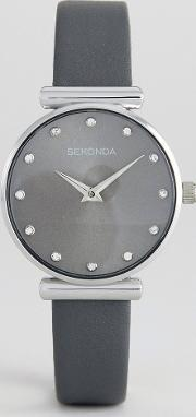 2470 leather watch in grey