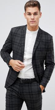 Check Suit Jacket With Patch Pockets