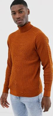 Chunky Cable Knitted Roll Neck