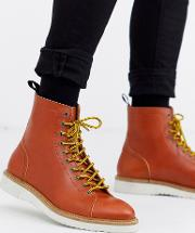 Contrast Sole Leather Hiking Boot Tan