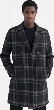 Double Breasted Check Wool Peacoat