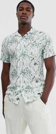 Floral Graphic Print Revere Collar Short Sleeve Shirt