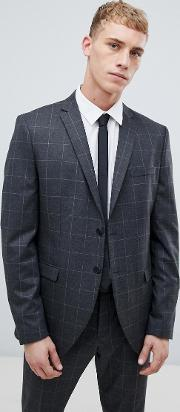 Grey Suit Jacket With Grid Check
