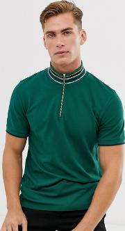 Knitted Polo Shirt With Contrast Placket And Collar
