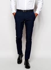 Luxe Tonal Check Suit Trouser In Skinny Fit