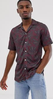 Short Sleeve Revere Collar Paisley Print Shirt