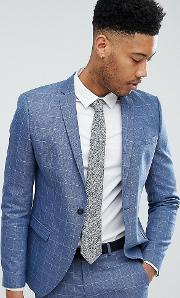 Skinny Fit Suit Jacket Grid Check