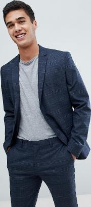 skinny suit jacket  navy check with stretch
